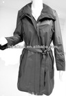 ladies leather long coat/sheep skin coat with belt in black color