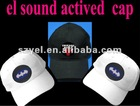 Cutom logo sound sensor hats / el musical caps