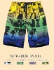 men three color printed beach shorts