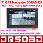 7'' inch GPS Navigator free world map car GPS 4G ARM11 CPU,468MHz SDRAM128 DDR WinCE 6.0 NAND display 800*480 FM+Audio/Video