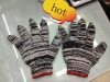 black and white knitted cotton glove/ working glove/ safety glove