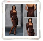 2012 Refined Brown Applique Hot Modest Knee Length Mother Of Bride Dress