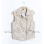 Womens PU leather waistcoat zipper closure 2012 autumn style