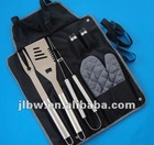 Small MOQ 6 Pcs BBQ Tool Set in Black Snap Button Bag