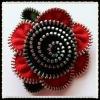 fashion red zipper flower shoe decoration