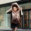 2012 Lady's Rex Rabbit fur vest with hood Pink