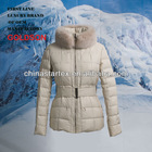 2013 Winter goose down Ladies short down jacket fox fur collar with belt