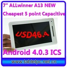 "New Arrival reasonable price, allwinner a10 7inch tablet pc android4.0,support2160P+3D HDMI wifi A10 7"" (712)"
