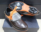 Top brand brown and orange lace-up leather shoes men