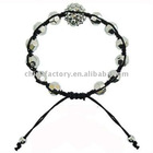 hot selling silver shamballa faced bead bracelet