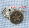 bronze jeans button with words,stars button,rivet Zinc alloy rivet jeans buttons with words,1.7cm diameter