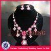 WNE005 In stock pink flower jewelry necklace and earring sets
