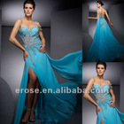 ET-134 Heavy Beading One-Shoulder Blue Ladies Evening Dress With Watteau Train