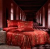 Single Double King Super King silk printed red weeding seamless silk bed linen
