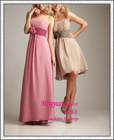Pink chiffon with sash cheap olive green bridesmaid dress