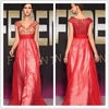 holiday sale red chiffon V-neck bridesmaid dress with beaded bodice IMG-68