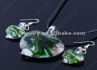 italian style murano glass jewelry set glass pendant &earring pendant&earring set Coloured glaze pendant heart shape pendant
