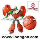 Loongon transformer toys basketball robot with marble ejector and sound light action figure