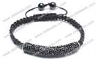 Fashion Black Crystal Shamballa Tube Bracelet