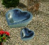 Black Stone Carving Heart Birdbath