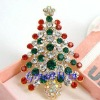 Vintage Christmas Tree Pin Brooch Multi Colored Rhinestones