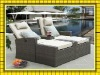 wicker PE rattan outdoor double sun lounger SCLC-071