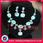 WNE004 In stock blue bridal costume jewelry necklace and earring sets