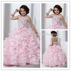 Pink Ball gown Halter organza beaded girls party dresses