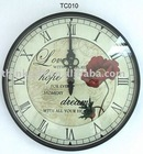 Fashionable glass flower wall clock,cheap plastic wall clocks,promotional gifts