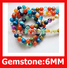 124pcs/Lot,Multi Color of Agate Round Beads and Gemstone,New Designs of Gemstone & Beads,Fashion Agate Size: 6mm