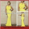 LED60 Sexy Yellow Sheath Long Open Back Evening Dress Formal