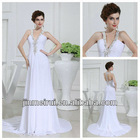Unique Design Halter A-line Chiffon White Sexy Backless Real Sample Chiffon Wedding Dress