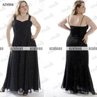 AZV004 Spaghetti strap Sweetheart A-line Organza with beads Plus size evening dresses