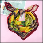 sunflower painting 100% silk square scarf NUS01F095