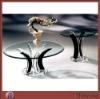 Roud black acrylic/plexglass table with round base
