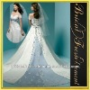 Hot Sale Long Satin Cap Sleeve Ruffled Appliqued White And Blue Wedding Dresses