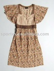 Printed Chiffon Dress Splice fabrics dresses Ladies fashion