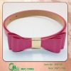 2013 Fashion loveliness hot sell shiny Pink PU belts with ribbon for girl's apparel
