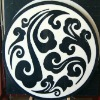 black white stone medallions