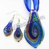 6331 Blue leaf murano glass pendant Sets