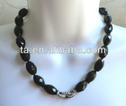 Monet Black Faceted Faux Onyx Strand Necklace Pave Crystal Hematite Toggle Clasp