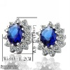 925 Silver EP Popular Blue/Red/Purple Crystal Stud Earring W/L 1.1/1.4CM