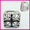 Hollow-out Square Two Finger Ring, Casual Ladies Accessory