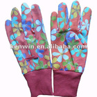 women's mini PVC dots dotted patterned cotton canvas garden gloves