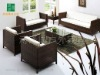 living room brown rattan sofa furniture set