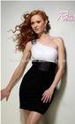 Sheath One-Shoulder Two Tone Chiffon Short Evening Dress