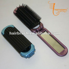 Plastic folding hairbrush with mirror