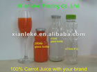 100% Carrot juice packed in glass bottle and PE bottle