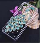 clear green peacock diamond crytal battery hard case cover for iphone -5 5g 5S