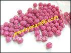 lily pink cz rhinestone shamballa pave beads WB09-6